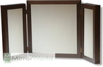 Elegant and chic triple panel dressing table mirror in a dark walnut finish