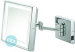 Chrome LED tilting wall mirror, Mirror 20cm square. Backplate 11.5cm x 11.5cm. Extends out 31cm