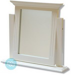 Solid timber dressing table mirror with adjustable tilt, white finish