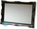 An imposing 95mm Depth Real Wooden Black Swept frame with with intricate detailing and bevelled edged glass mirror.