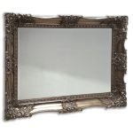 Intricate and hand-carved Stunning Ornate Silver 95mm Wide Swept Frame with bevelled mirror,