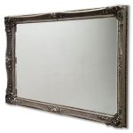 Very Ornate Silver Swept Framed Mirror Int Size 60x36 Inches